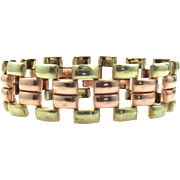 Retro Rose Gold and Yellow Gold Filled Woven Links Bracelet