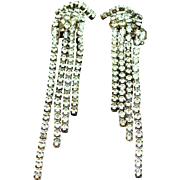 1950's Rhinestone Shoulder Duster Chandelier Earrings