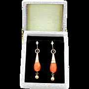 Pretty Victorian Coral Dangle Earrings
