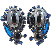 Juliana {D & E}Hematite Cabochons Earrings with Sapphire Blue Glass Stones
