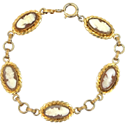 Retro Gold Filled Carved Shell Cameo Bracelet