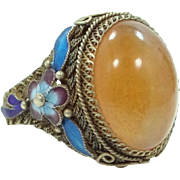 Chinese Export Sterling Vermeil Enamel and Agate Ring