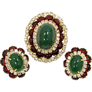 Signed Hattie Carnegie Red and Green Cabochons Pin & Earrings