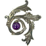 Maricela Large Sterling and Amethyst Mexico Pin