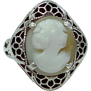 Art Deco Carved Shell Cameo Filigree Ring