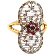 10k Gold Filigree Ruby Ring Art Deco Era