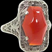 Art Deco 14k White Gold Filigree Carnelian Ring