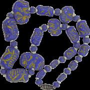 Czechoslovakia Purple Blue Glass Max NEIGER Bros. Necklace