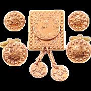 Gret Barkin New Hope, PA Hand Wrought Copper Cuckoo Clock Pin, Cufflinks & Earrings Set