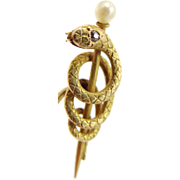 Victorian 14k Gold Diamond and Pearl SERPENT Stick Pin Snake