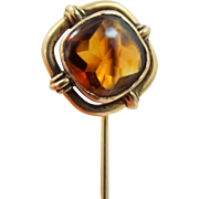 14k Gold Victorian Citrine Stick Pin