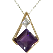 10k Gold Princess Cut Amethyst Necklace