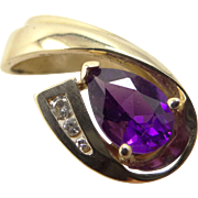 14k Solid Gold Diamonds and Amethyst Pendant