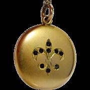 Wightman & Hough Art Nouveau Gold Filled Locket with Fleur deLis