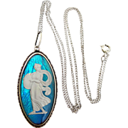 Beautiful Sterling England Morpho Art Deco Butterfly Wings Goddess Necklace