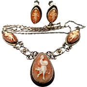 800 Silver Cameo Goddesses Necklace and Matching Earrings