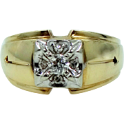Heavy 14k Gold & Diamonds Man's Retro Era Ring