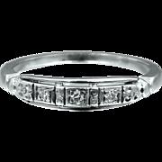 18k White Gold Art Deco JABEL Diamond Wedding Ring or Stacking Band