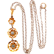 Child's Victorian 10k Gold Lavaliere with Original Chain