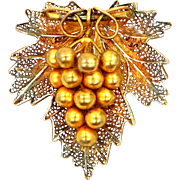 Sterling Vermeil Figural Grapes Cluster Pin.