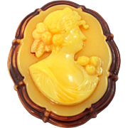 1920's Butterscotch Celluloid Cameo Pin