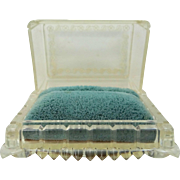 1920's Clear Plastic Velvet Trunk Shaped Ring Box