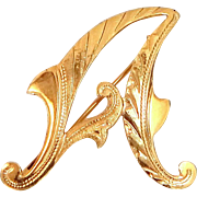 "Victorian 18k Gold Finely Etched Letter ""A"" Pin"