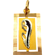 18k Gold and Enamel Blessed Mother Medal