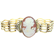 Victorian Gold Filled Carved Shell Cameo Bracelet