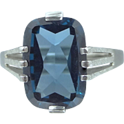 Ladies Size 10 1/2 10k White Gold Blue Spinel Ring