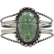 1940's Mexico Silver and Green Agate Aztec Stone Cuff Bracelet