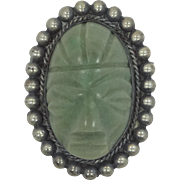 1940's Mexico Silver and Green Agate Aztec Stone Pin