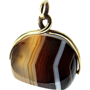 Victorian Gold Fld. Banded Agate Fob or Charm