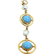 Victorian 10k & 14k Gold Turquoise & Pearls Lavaliere