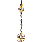Victorian 10k Gold Diamond and Pearls Lavaliere