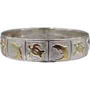 Heavy Sterling Silver Bangle with Seaside Motif Dolphins and Turtles