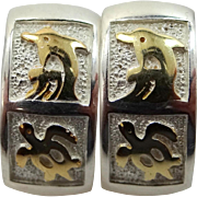 Sterling Silver Pierced Earrings with Seaside Motif Dolphins & Turtles