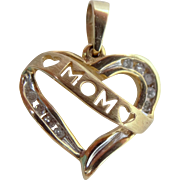 10k Gold and Diamonds MOM Heart Pendant