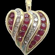 10k Gold Natural Ruby & Diamonds Heart Shaped Pendant