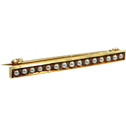 14k Gold Victorian Era Seed Pearls Bar Pin
