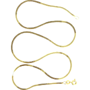 "14k Gold 18"" Long Snake Chain Necklace"