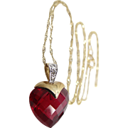 10k Gold Diamond and Checkerboard Cut Ruby Necklace