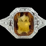 10k White Gold Art Deco Golden Topaz Filigree Ring