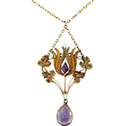 Victorian 10k Gold Amethyst and Seed Pearls Lavaliere Necklace