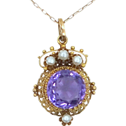 14k Gold 4 Carat Natural Amethyst and Seed Pearls Victorian Necklace