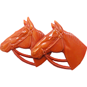 1930's Orange Celluloid Horse with 2 Horse Heads