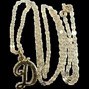 """9k Gold Letter """"D"""" Necklace"""