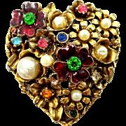 1960's Signed CORO Heart Shaped Pin