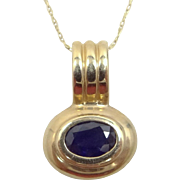 14k Gold With Oval Sapphire Necklace