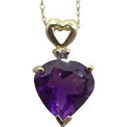10k Gold Heart Shaped Genuine Amethyst & Diamond Necklace